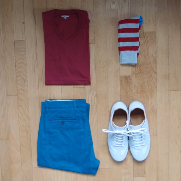 Amazon Goodthreads tshirt and chinos flatlay
