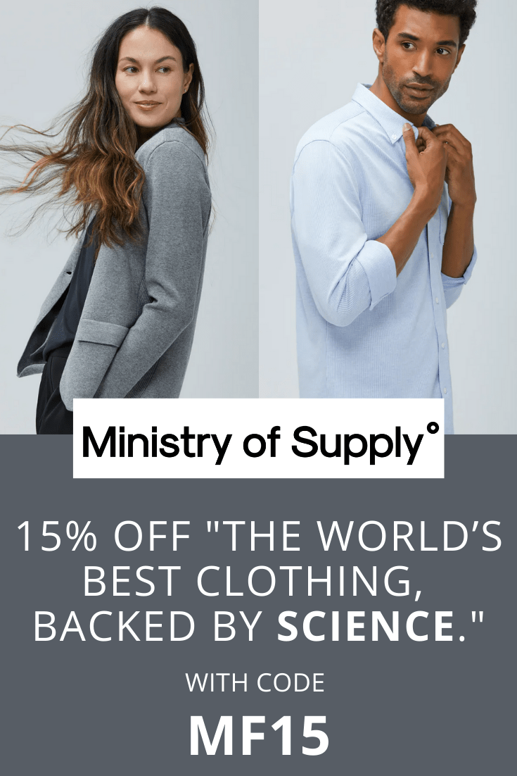 Ministry of Supply 15 percent discount with coupon code MF15